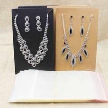 15.5*9.5cm noir/kraft grand costume collier avec boucle doreille affichage carte grand ensemble de bijoux paquet montrer carte 100 pièces + 100match sac