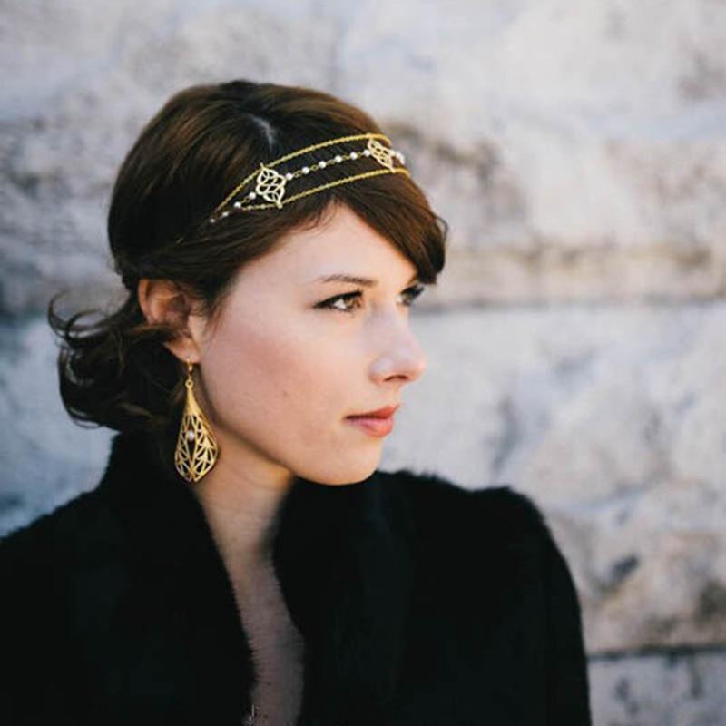 Fashion Head Ornaments Jewelry  Beautiful Pearl Head Chain beads Hair Accessories For Women Headbands  T034