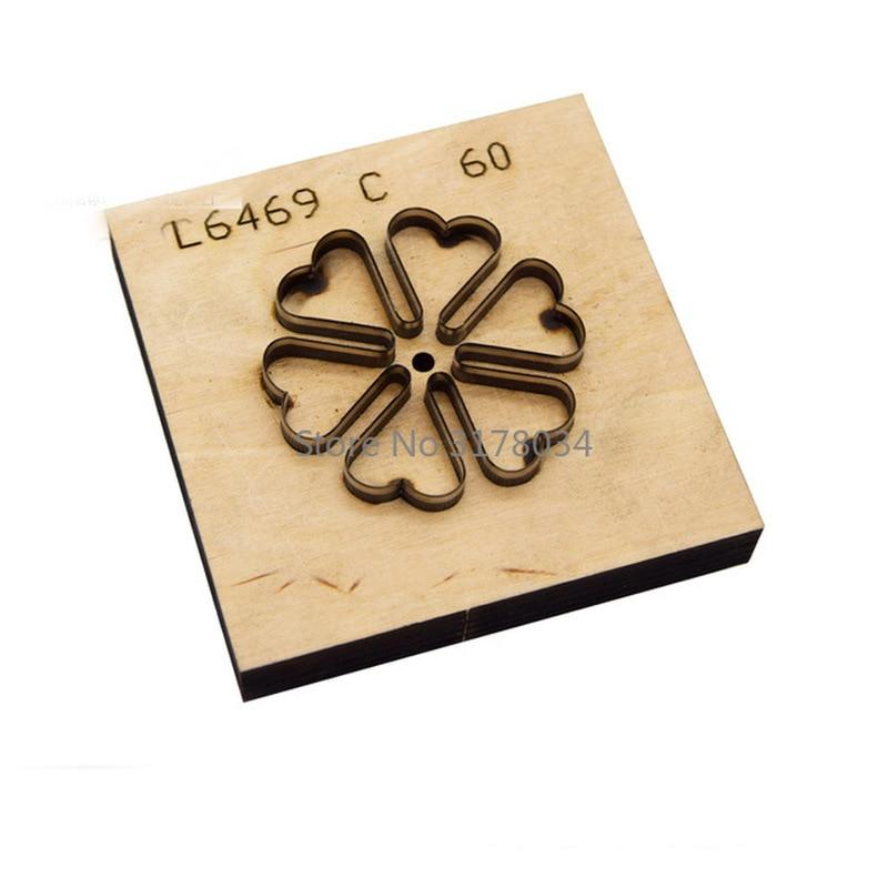 Troqueles de madera de corte de hoja de acero de Japón DIY plantilla para artesanía de cuero cinco pétalos flor trébol hierba muere cúter punzón del molde