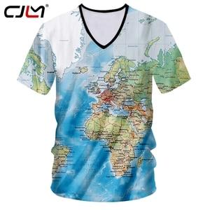 CJLM T-shirt Hombre Hot Deep V Neck Slim Fit 3D Tshirt Printed World Map Hip Hop Plus Size 5XL 6XL Costuming Spring T Shirts
