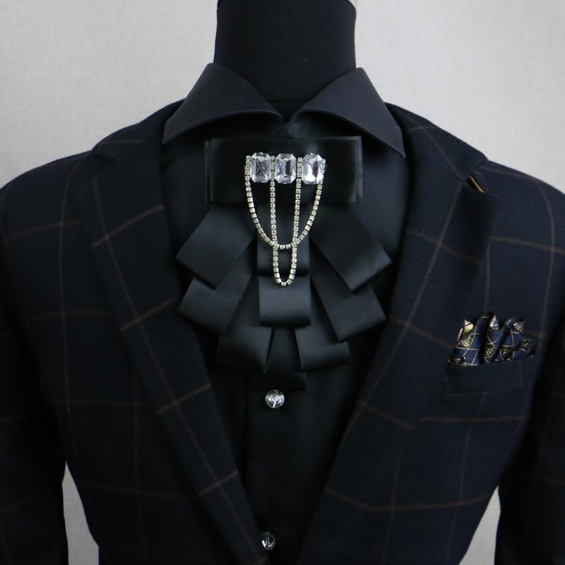Novo frete grátis moda casual masculino vestido de casamento broca colar fita cristal anfitrião mc coreano gravata broca borla à venda