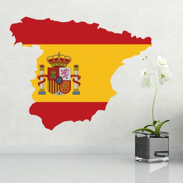 Bandera mapa de España pared vinilo pegatina de Casa decoración de la pared de la etiqueta engomada de papel pintado PVC decoración de diseño de moda