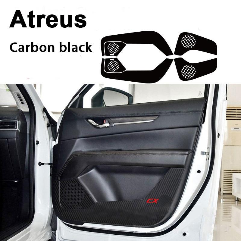 Atreu 4 pcs Para Mazda 3 6 CX-5 CX-4 CX 4 5 Atenza Axela Carro styling 3D Porta Anti Pontapé pad Tapete De Fibra De Carbono Adesivos Acessórios