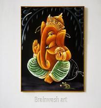 Pinturas P-535 Lord Sri Ganesha a la venta, pintura mural de Mumbai 100% lienzo pintado a mano pintura al óleo bonita (sin marco)