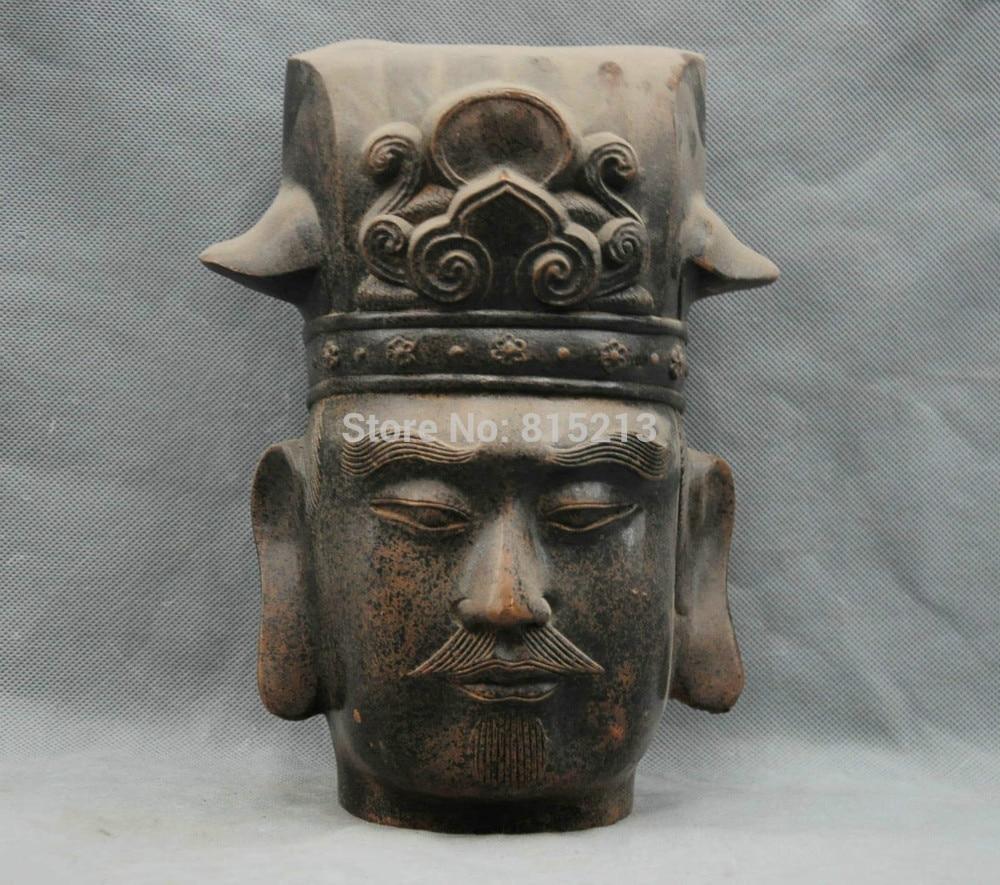 "Bi00775 10 ""Mano-folk Antiguos Emperador Líder escultura estatua de Bronce Chino"