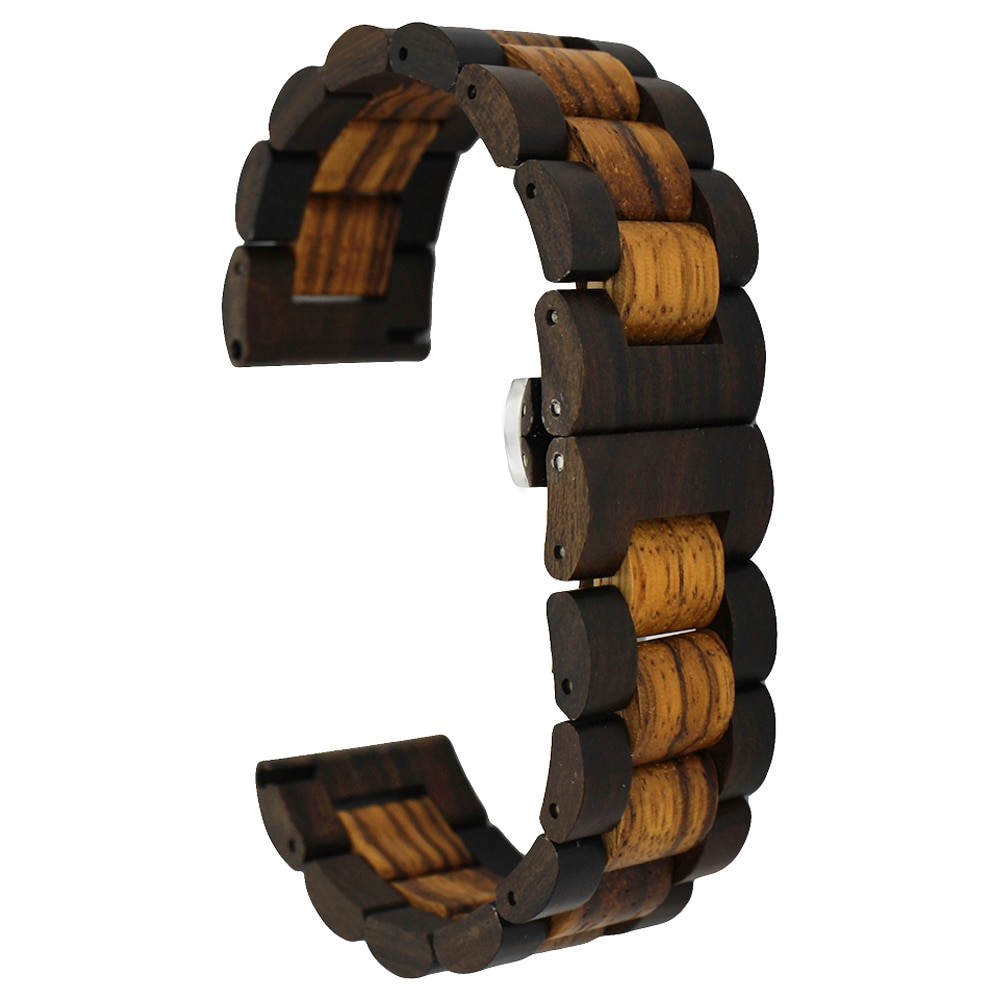 Wooden Watch Band 22mm for Rolex Stainless Steel Butterfly Buckle Quick Release Strap Wrist Loop Belt Bracelet Brown + Tool