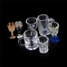 Verre modèle bricolage pièces 112 échelle en plastique 1/2 pièces Transparent gobelet Miniature Mini vin bière tasse maison de poupée artisanat décoration de la maison