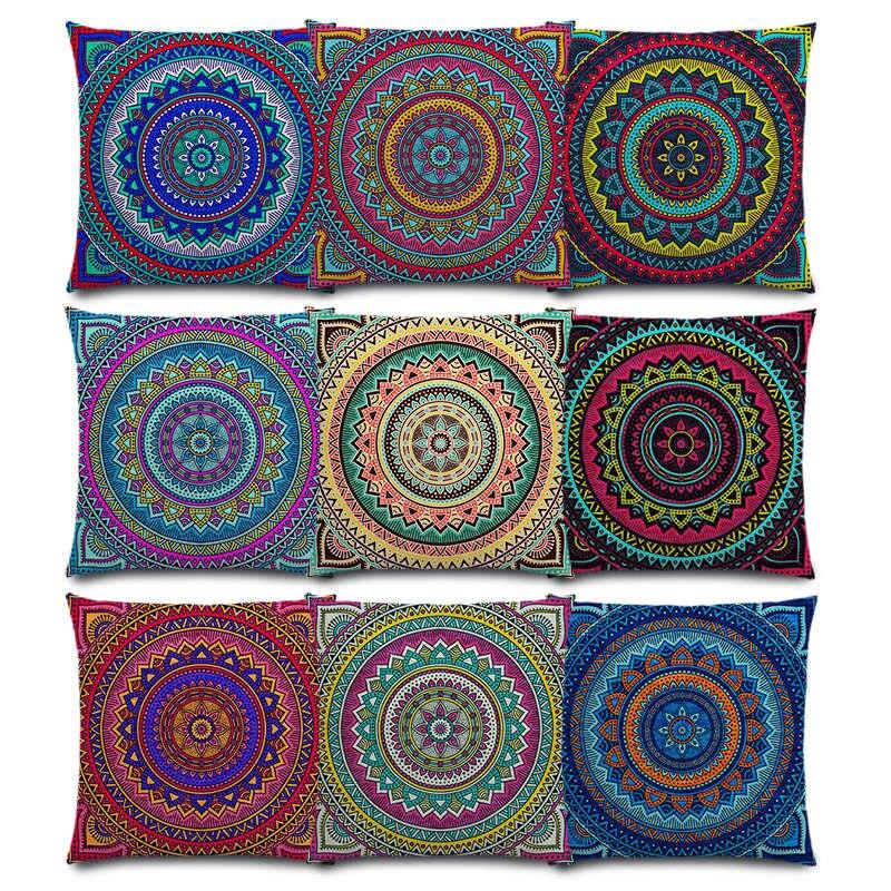 Hippie Mandala Boho Rainbow Floral Pattern Sun Moon Flowers Colorful Dream Fantasy Good Cushion Cover Sofa Throw Pillow Case