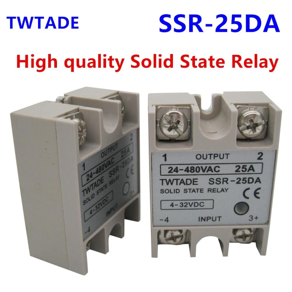 TWTADE/ High-quality Single Phase Solid State Relay SSR-25DA 25A Module 3-32V DC To 24-480V AC SSR-25 DA SSR 25A