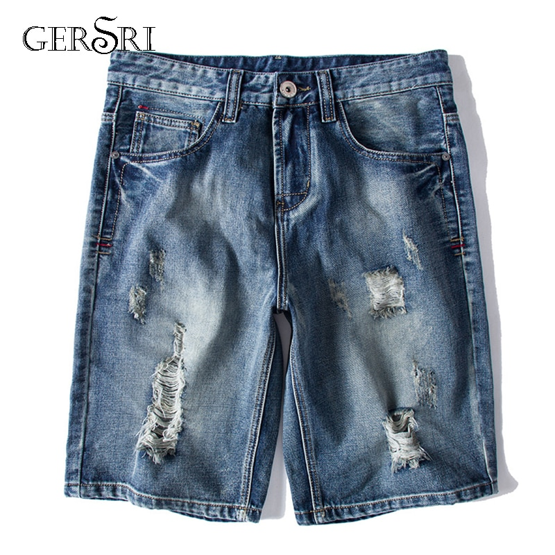 Gersri Men's High Quality Denim Shorts Men Cotton Jeans Straight Male Blue Casual Short Jeans Mens Size S-6XL Pants Jeans