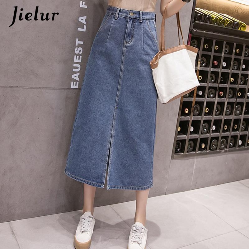 Jielur kobiety spódnica denim koreański styl spódnice z wysokim stanem dżinsy damskie Plus rozmiar S-5XL panie przyczynowe kieszenie Faldas Largas Verano
