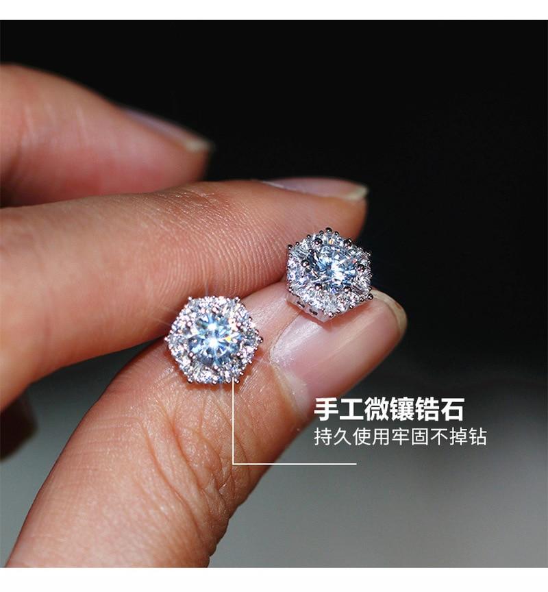 S925 sterling silver warna sederhana bulat bling zirkon batu anting - Perhiasan fesyen - Foto 3