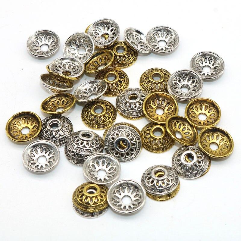 100 pcs/lot alliage perle casquettes pétales fleur perles rondes tibétain argent plaqué embouts breloques Handmande pour les résultats de bijoux 12mm