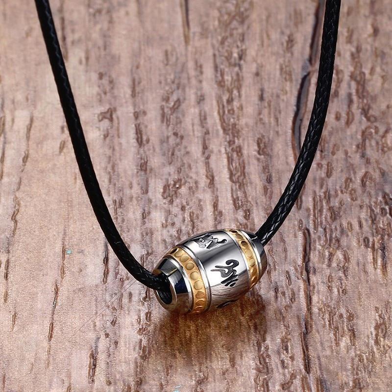 Männer Choker Edelstahl 6 & 9 worte Buddha Mantra Klatsch Yin Yang Glück Perle Anhänger Halskette Schwarz Geflochtenen Seil männlichen Schmuck