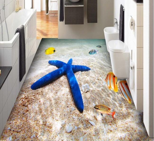 3 d de suelo de pvc de papel de pared 3d océano Playa Mar peces tropicales 3 d azulejo para el piso del baño 3d murales de pared papel pintado