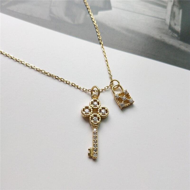 925 prata esterlina bloqueio chave pingente colar de ouro moda cristal cúbico zircon colar para mulher jóias de prata para encantos