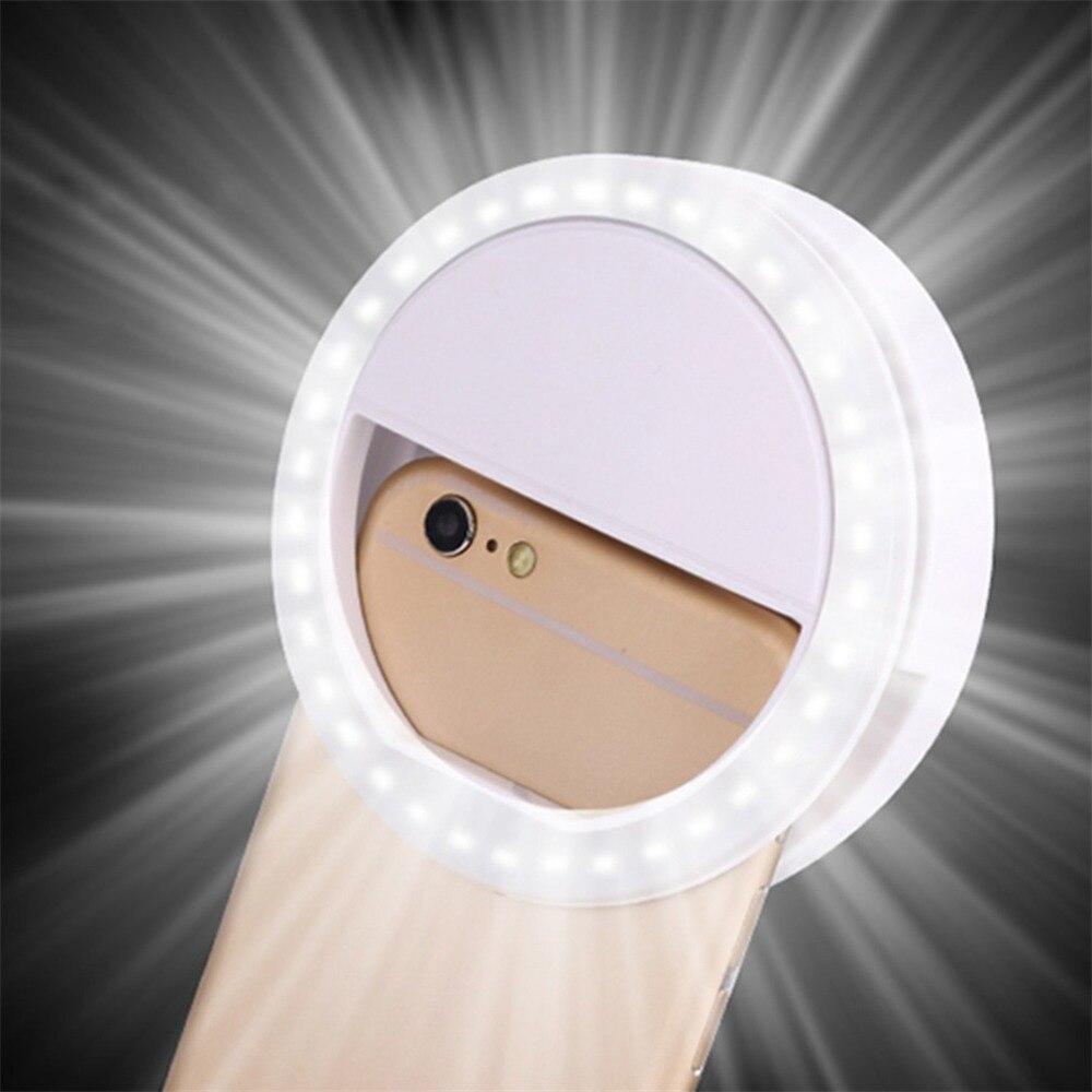 LED טבעת פלאש אוניברסלי Selfie אור נייד נייד טלפון 36 נוריות Selfie מנורת זוהר טבעת קליפ עבור iPhone 8 7 6 בתוספת Samsung