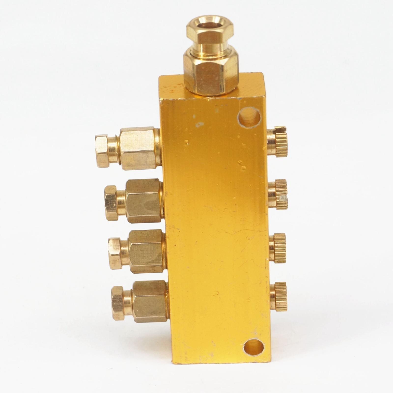 Aluminio 4 vías 6mm en 4mm Out ajustable aceite lubricante pistón distribuidor valor colector bloque para sistema de lubricación centralizada