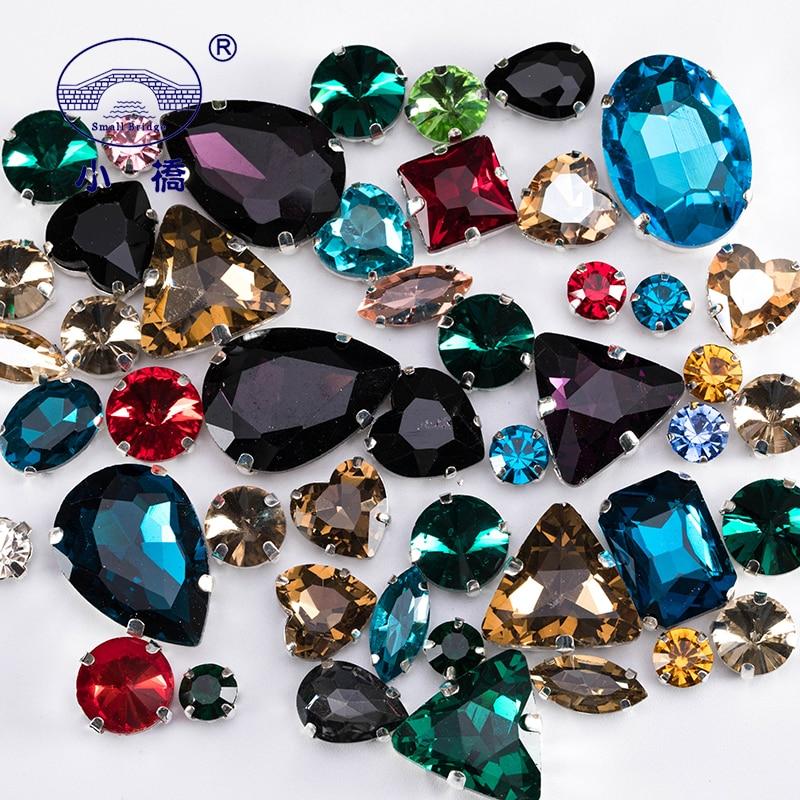 Costura de cristal brilho strass com garra roupas faça você mesmo pedras coloridas formato misto de vidro strass para vestuário 50 tamanhos s037