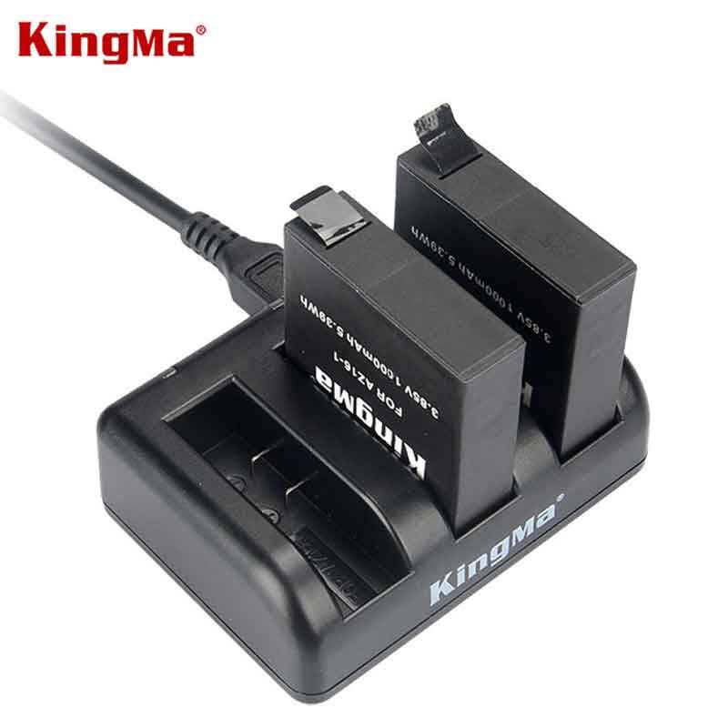 KingMa para Xiaomi YI 2 II 4K 1000mAh batería recargable (paquete de 2) y cargador USB doble para Xiaomi YI 4K Plus Action Camera II 2