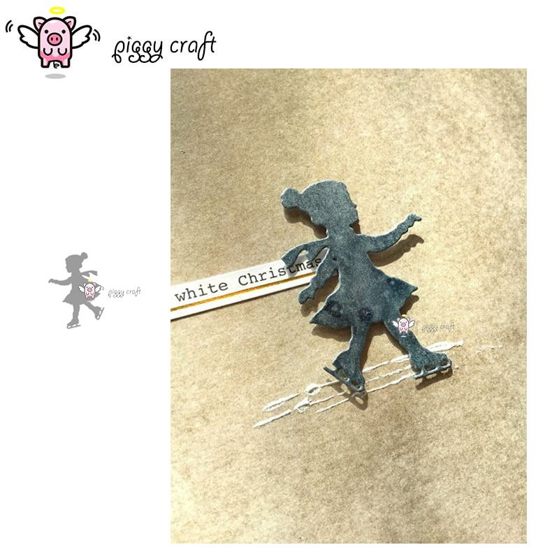 Piggy Craft troqueles de corte de metal troquelado molde patinaje chica decoración manualidades de papel de álbum de recortes cuchillo molde de cuchilla perforadora de plantillas troqueles