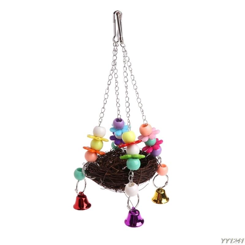 Натуральное ротанговое гнездо птица качели игрушка с колокольчиками клетка