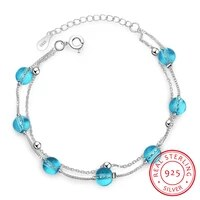 new fashion double layer blue crystal 925 sterling silver jewelry personality sweet transfer beads bracelets sb166