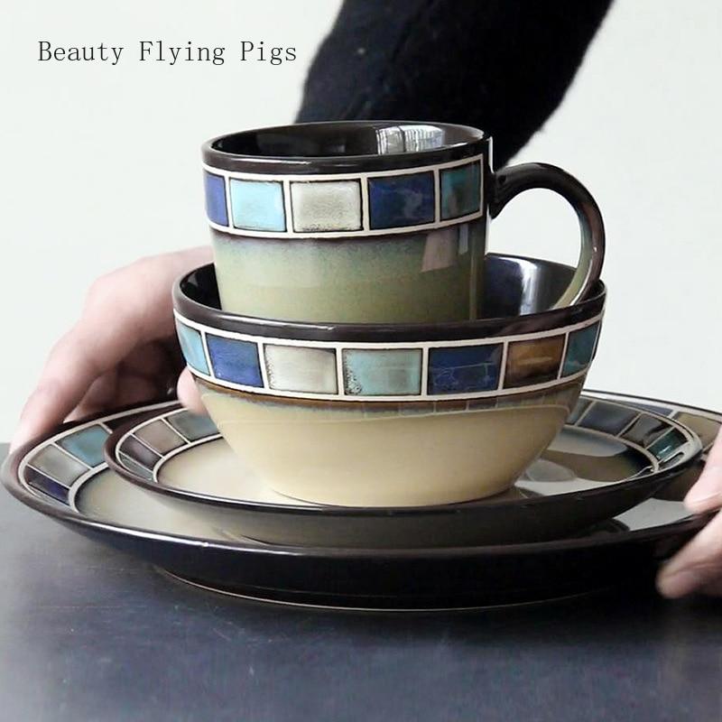 فرن بسيط مزجج مستدير مرسومة باليد ألوان غير لامعة لون أزرق منقوش أدوات المائدة الغربية ستيك باستا لوحة تزيين المنزل