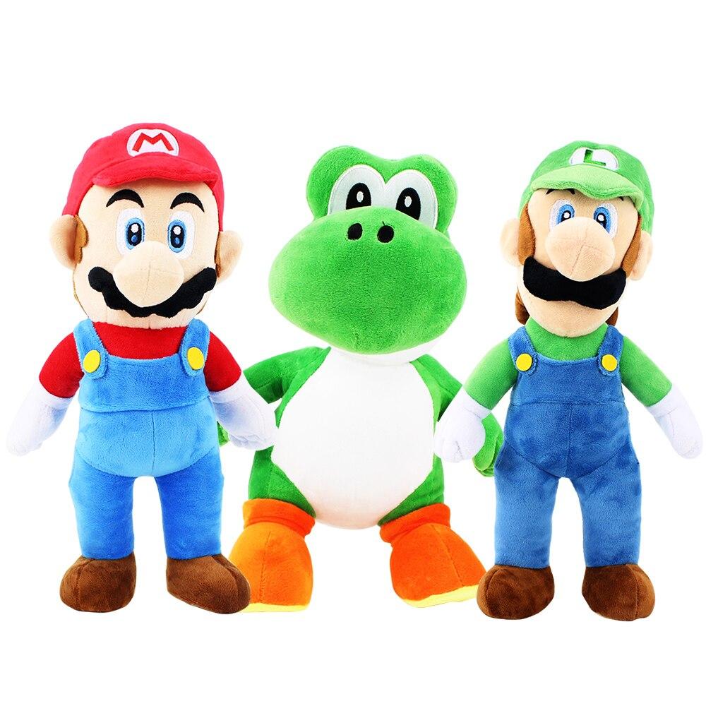 3 estilos Super Mario Bros Mario Luigi Yoshi Action Figure Collectible Modelo de Pelúcia Brinquedo Peluche 32-38 cm Presente para As Crianças