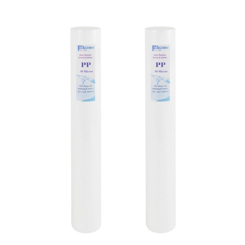 Recambio de filtro de sedimento de 50 micrones 20x2,5 pulgadas-polipropileno soplado por fusión-paquete de 2