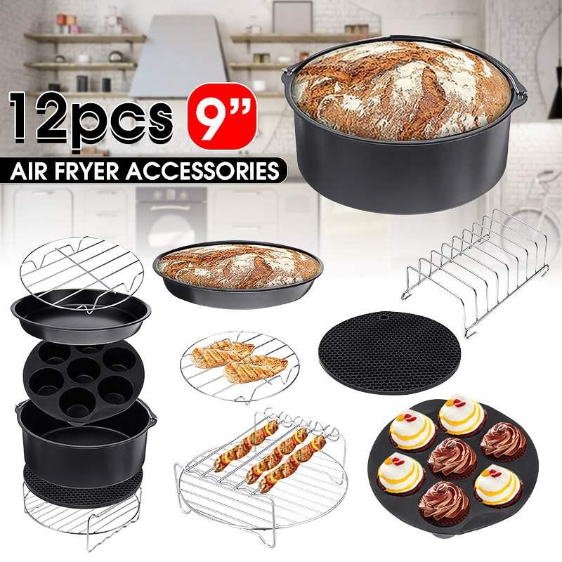 12 шт., аксессуары для воздушной фритюрницы, 9 дюймов, подходит для Airfryer 5,2-6.8QT, корзина для выпечки, тарелка для пиццы, гриль, кухонная утварь, вечерние инструменты