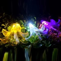 2019 new waterproof led solar lily lamp outdoor park courtyard decoration lawn aunty lily flower inserted solar energy