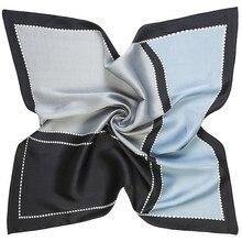 Foulard à carreaux géométrique bleu   Écharpe en sergé de soie, petit foulard carré, bandeau Hijab, 60cm * 60cm 2020, marque de luxe
