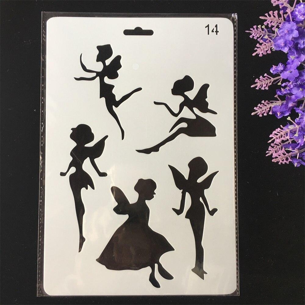Caliente 26cm Hada bricolaje capas plantilla para pintura álbum de recortes estampado gofrado de álbumes y tarjetas de papel plantilla