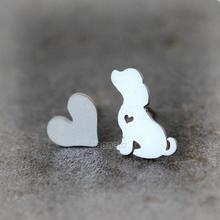 Daisies 1pair New Arrival Fashion Cute Dog and Heart Stud Earrings Animal Asymmetry Earrings Stateme