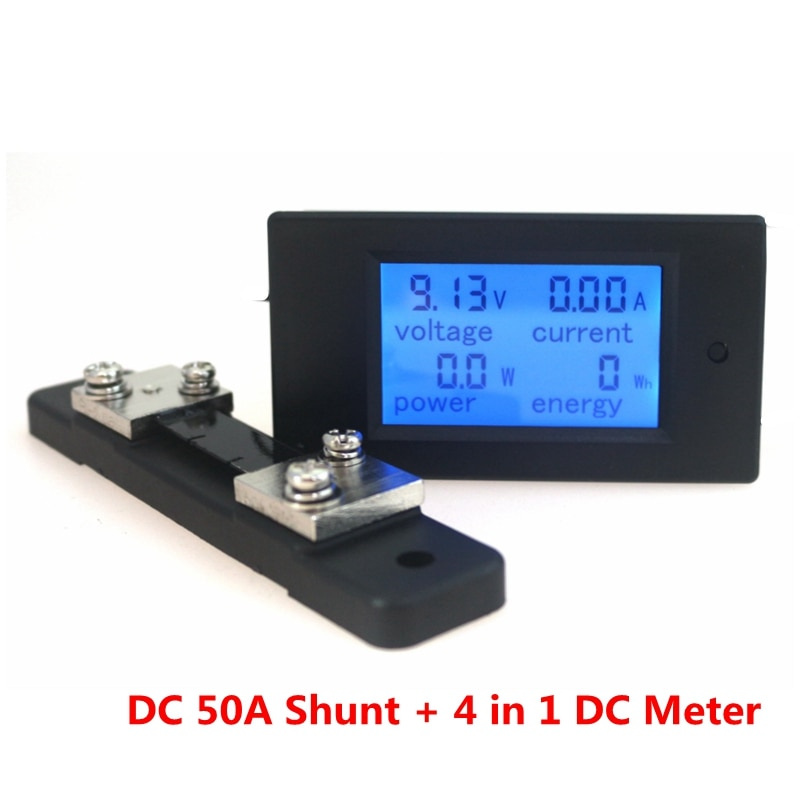 4 in 1 Combo Digital Ammeter Voltmeter DC 100V 50A Ampere Voltage Power Energy Tester Blue LCD Panel Module 50A 75mv Shunt