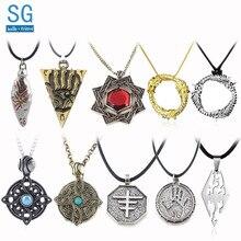 SG 20Pcs Elder Scrolls Amulet Morrowind Pendants Necklaces Dark Brotherhood Dinosaur Triangle Men Wholesales Jewelry
