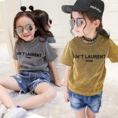 Adolescentes 11 12 10 estilo americano bebé Niñas Ropa estampado de letras camisas de niños para Niñas Ropa de niños bling camiseta gris