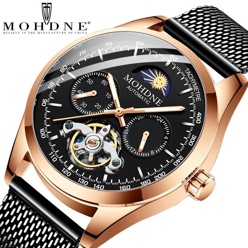 Reloj mecánico con pantalla de fase lunar, reloj automático para hombre, reloj de marca superior de lujo de malla de acero luminoso, reloj impermeable para hombre