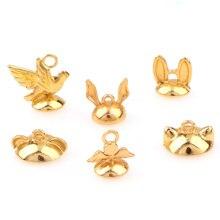 10 pièces chat lapin ours en forme de perles casquettes couleur or pour UV résine breloque collier pendentifs findingbricolage bijoux accessoires