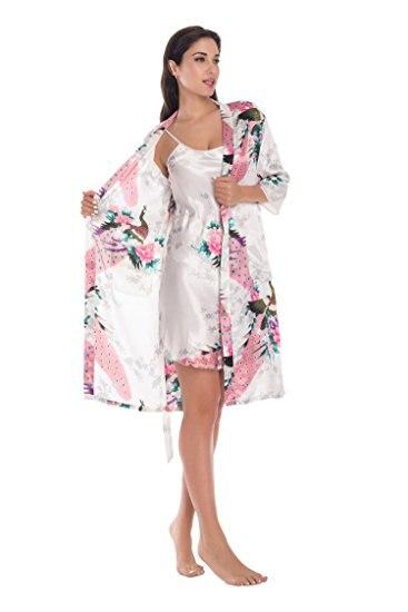طقم قطعتان من روب كيمونو حريري الطاووس للنساء ملابس داخلية مثيرة للنساء لوصيفات العروس وحفلات الزفاف ورداء نوم من الساتان ورداء حمام