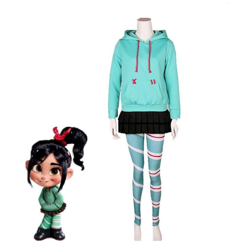 Wreck-It Ralph Cosplay Kostüm Vanellope von Schweetz Cosplay Kostüm Spiel Sugar Rush Halloween Full Set