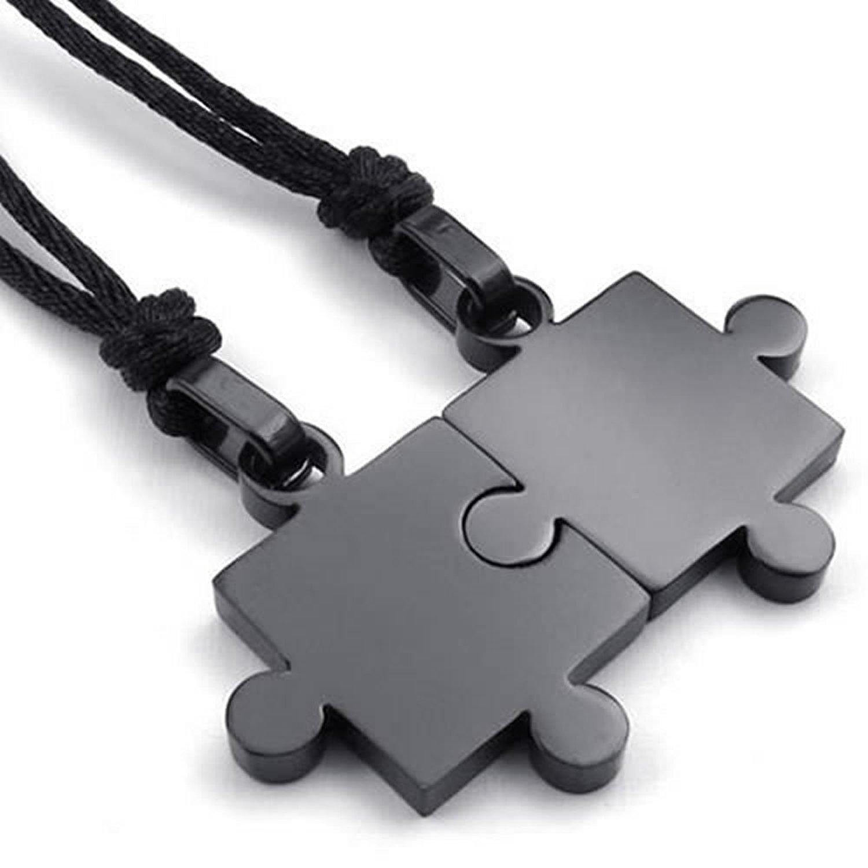2pcs Mens Womens Couples Stainless Steel Puzzle Pendant Love Necklace Set, Black Silver