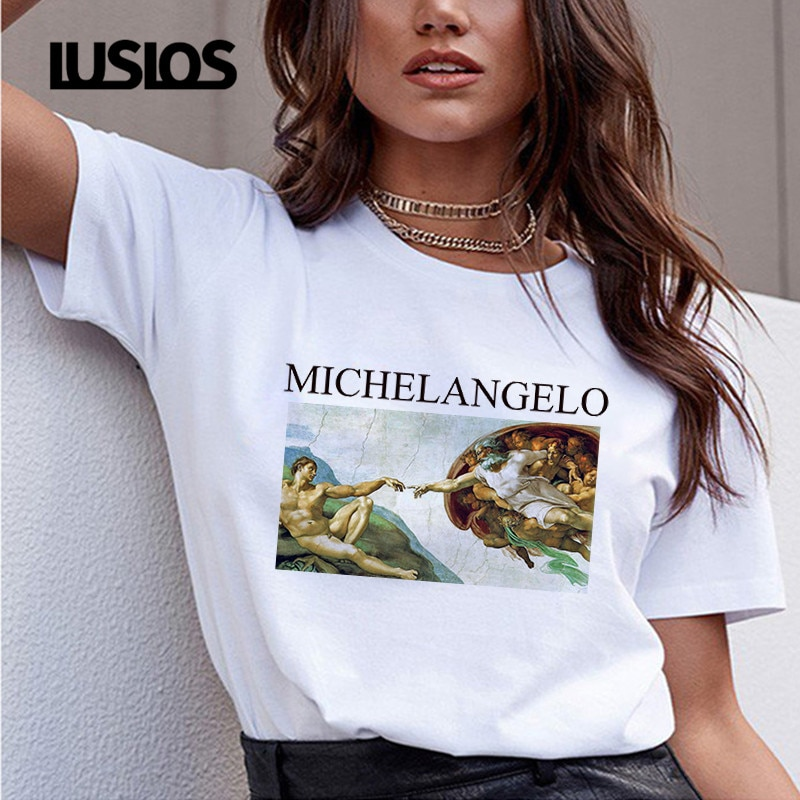 Luslos David Michelangelo estatua chicle impreso Camisetas Mujer verano pantalón corto Casual manga divertida Harajuku ropa