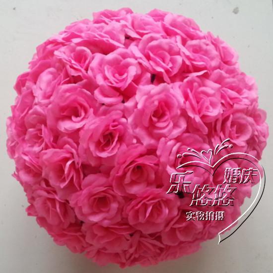 Rosa quente 20cm rosa beijando bola artificial seda flor festa de casamento cor vermelha decoração do casamento frete grátis
