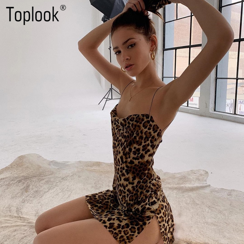 Toplook leopard שמלות נשים רשת לראות דרך צד פתוח הדפסת ספגטי רצועות סקסי מיני שמלה ללא משענת חורף מסיבת מועדון שמלה