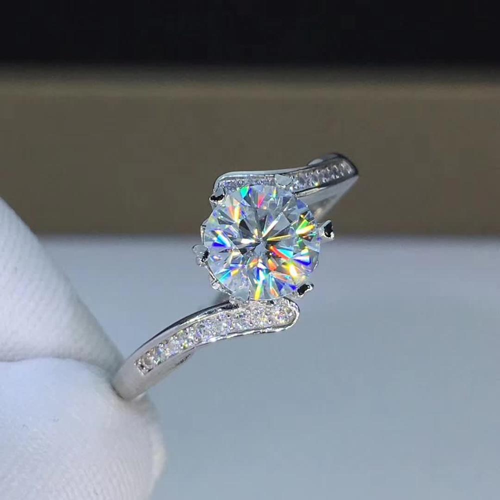 Anillos de boda chapados en platino plateado de plata esterlina S925 para mujer, moissanita de 1 quilates, joyería fina de Color D, triangulación de envío
