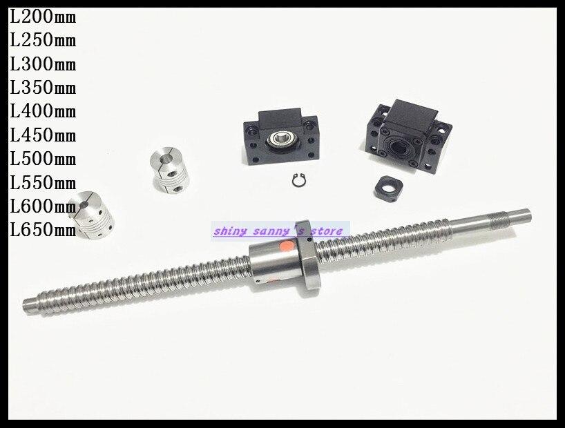 لولب كروي SFU1605 RM1605 L400mm ، لولب كروي ، مصنوع آليًا مع صامولة كروية BK12 BF12 ، دعم طرفي 2 قطعة ، مقرنة 6.35x10 مللي متر ، علامة تجارية جديدة