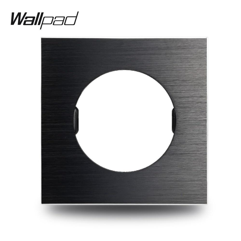 Wallpad L6 DIY Black UK EU Universal Brushed Aluminum Wall Switch Socket Metal Plate Free Combination, 86*86mm