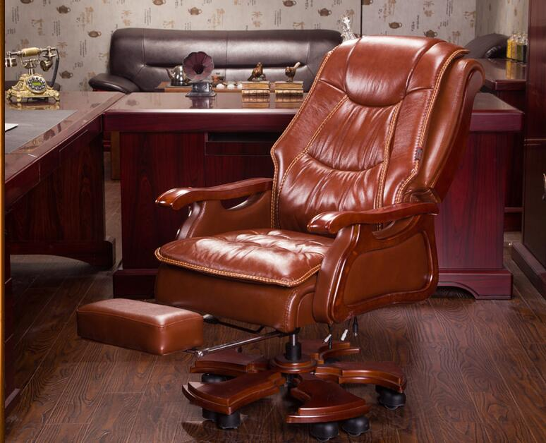 Boss chair. Real leather massage can lie double seat cushion computer chair. Home body high back office chair..023 real leather boss chair can lie high grade massage computer chair home office chair real wood swivel chair 08